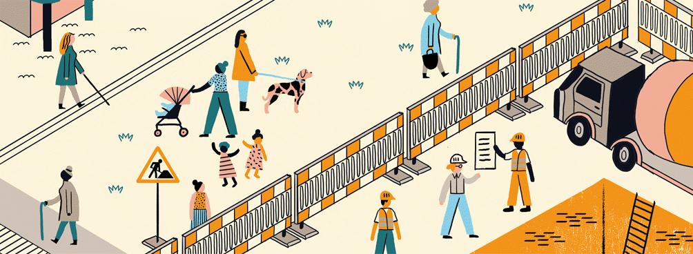 Farbige Illustration verschiedener Menschen im Alltag mit Schwerpunkt Bauen und Baustelle.