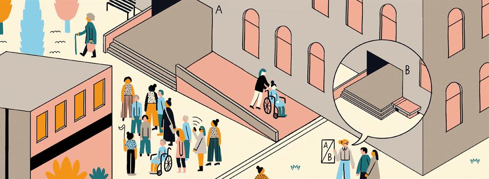 Symbole wie 'Daumen hoch' an gut gebauten Lösungen für barrierefreie Zugänglichkeit und inklusive Nutzung innerhalb einer farbigen Illustration.